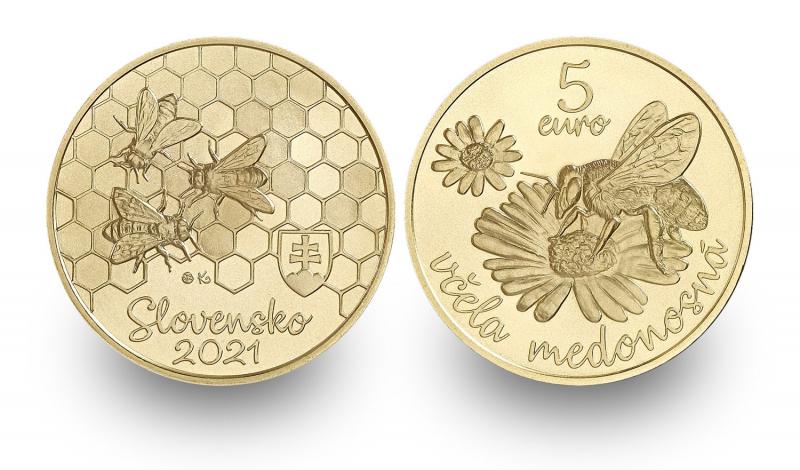 Zberateľská eurominca z obyčajných kovov v nominálnej hodnote 5 eur s tematikou Fauna a flóra na Slovensku – včela medonosná