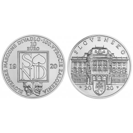 10 eur BU strieborna minca zobrazujuca budovu Slovenskeho narodneho divadla, logo SND a divadelne masky