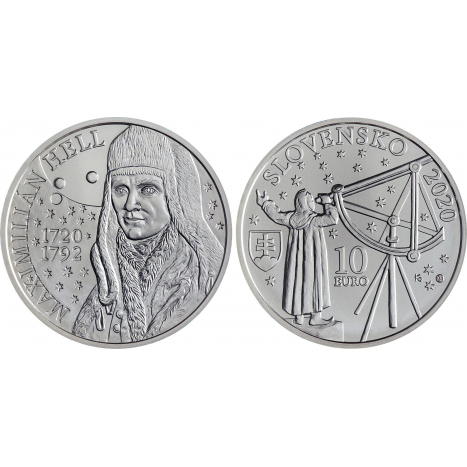 10 eur strieborna minca s portretom Maximiliana Hella, hviezdy, dalekohlad