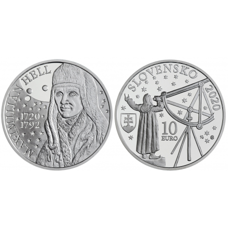 10 eur strieborna minca s portretom Maximiliana Hella