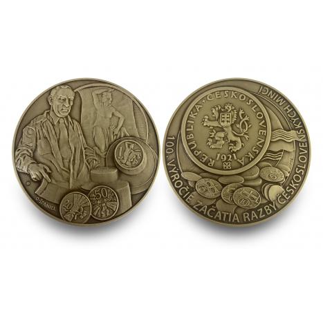 mosadzná medaila s motívom 100.výročie začatia razby československých mincí