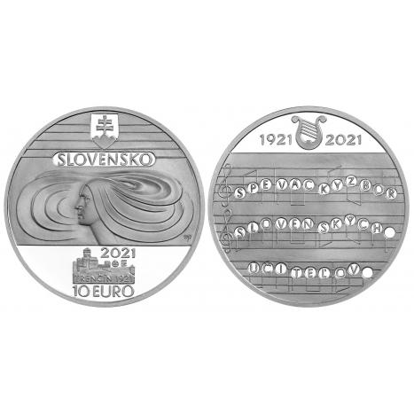 Strieborna minca 10€ loga s motívom Speváckeho zboru slovenských učiteľov a notový zápis nápevu štátnej hymny