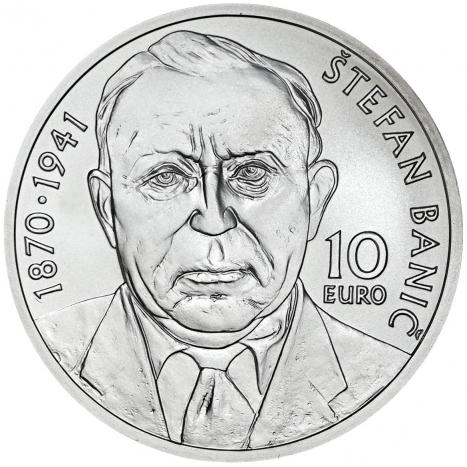 10 eur BU strieborna minca s portretom Stefana Banica