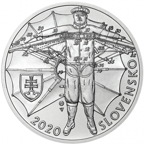 10 eur BU strieborna minca s vyobrazenim padaku Stefana Banica