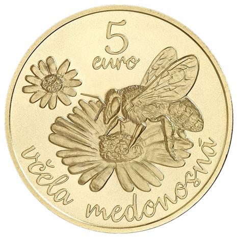 Minca 5€ Včela medonosná reverz s motívom včely medonosnej