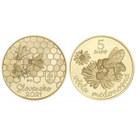 Minca 5€ averz a reverz s motívom včely medonosnej