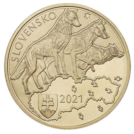 Zberateľská eurominca z obyčajných kovov v nominálnej hodnote 5 eur s tematikou Fauna a flóra na Slovensku vlk dravý