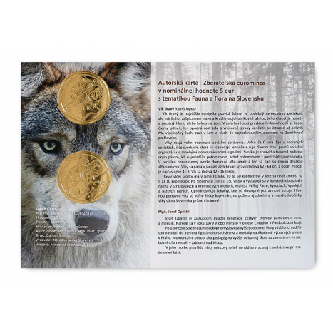 Autorská karta 5€ s motívom 5€ mince a fotkou vlka dravého na pozadí