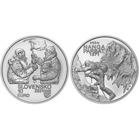 Strieborná zberateľská minca 10€ (Proof vyhotovenie) Zdolanie prvej 8000ovky (Nanga Parbat) slovenskými horolezcami - 50. výročie