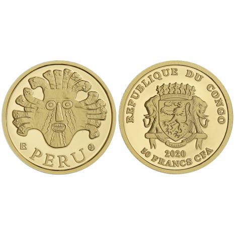 Zlata minca 50 Francs CFA - Peru - Rituálne masky regiónov sveta