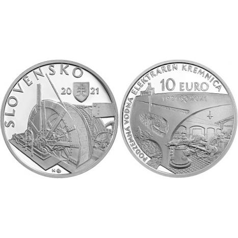 Strieborná 10€ minca podzemná vodná elektráreň v Kremnici
